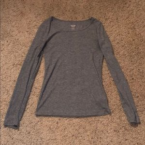 Gray ribbed long sleeve